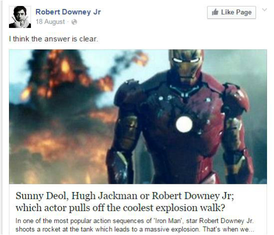 Robert Downey Junior post about Sunny deol