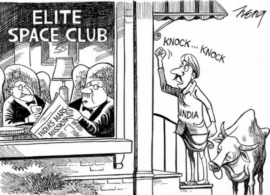 New York Times cartoon on India's Mars Mission