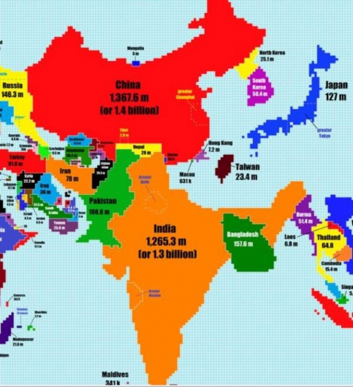 A man redesigned the world map according to population and indias india and china gumiabroncs Image collections