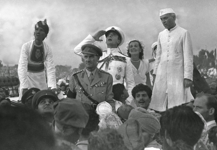Lord Mountbatten Salutes The Indian National Flag