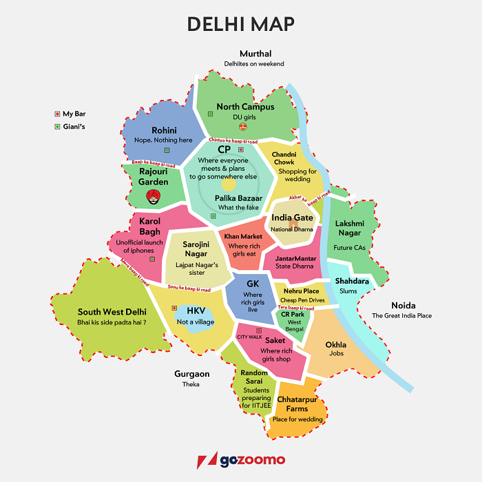 This Map Of Delhi Describes Delhiites So Correctly, It Might Just