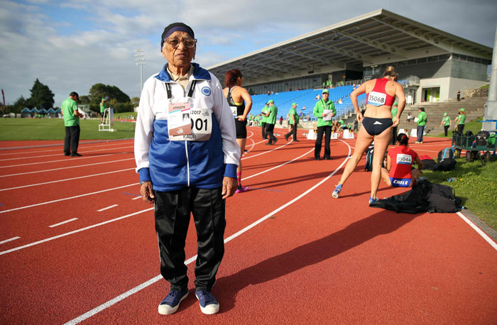 With a jaunty victory dance, 101-year-old Man Kaur celebrated winning the  100 metres sprint at the World Masters Games in Auckland on Monday, the  17th gold ...