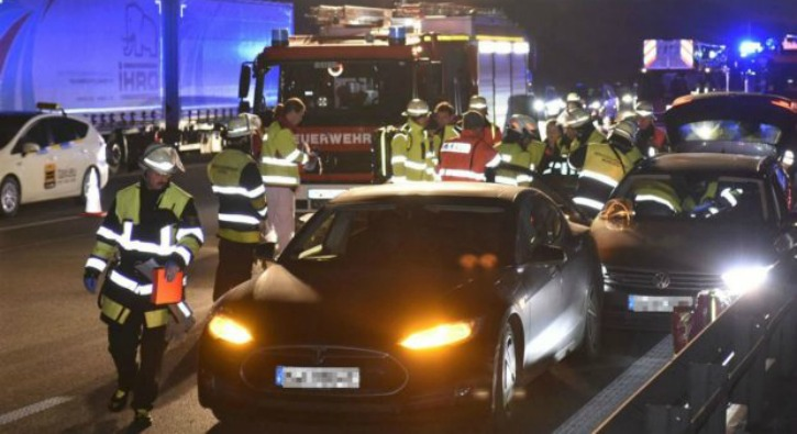 Tesla Model S standing still on German Autobahn outside Munich