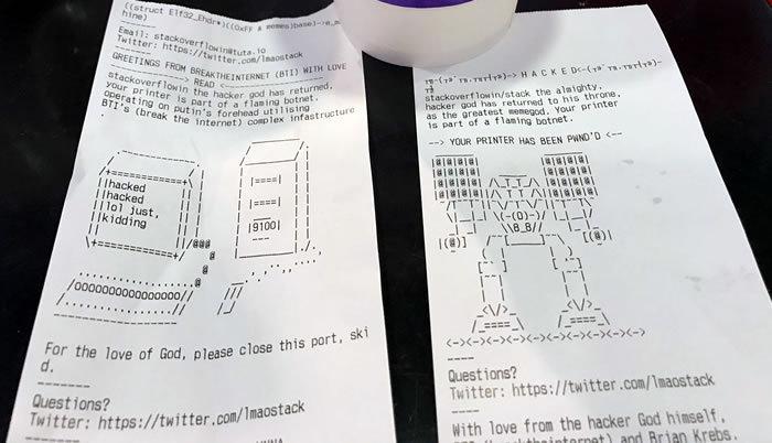 stackoverflowin hacked printer message