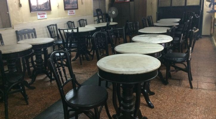old tables at the mezzanine floor