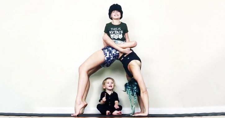 Mermaid-haired athletic mom, from Florida, USA, Charity LeBlanc, ingenious ways to use the space in her house to train ninja-style has won her over 132,000 Instagram followers for her extreme but innovative workouts