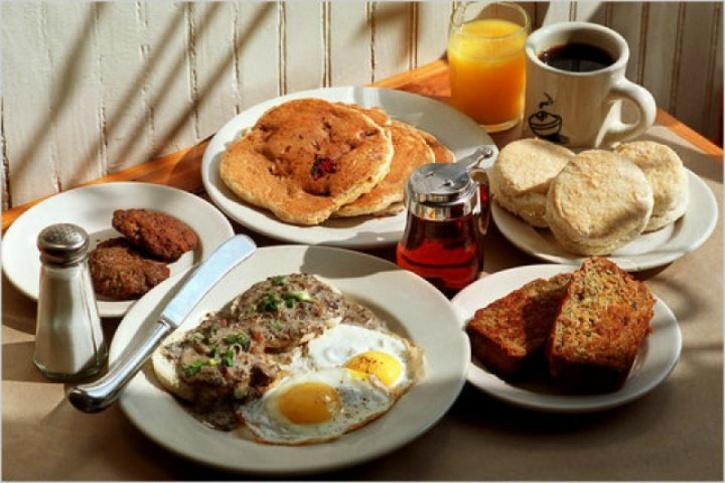 Eating a king-sized breakfast is not the best idea