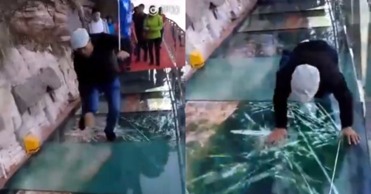 Famed China Glass Bridge Cracks With Each Step People