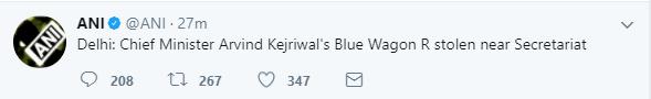 Kejriwal car stolen