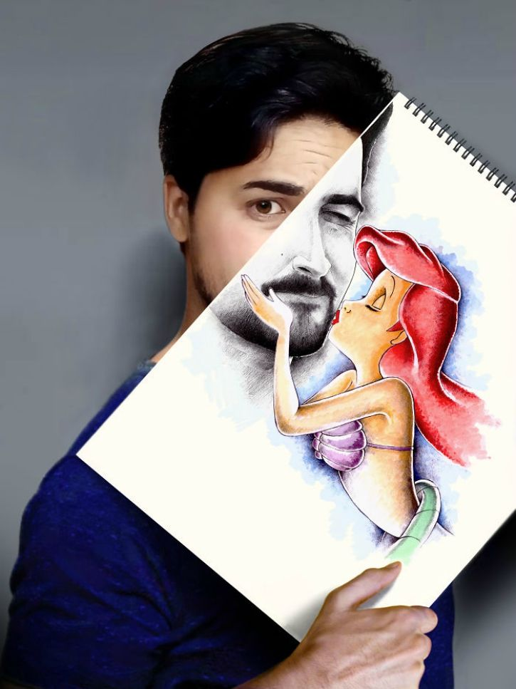 this artist and pharmacist combines sketches with real