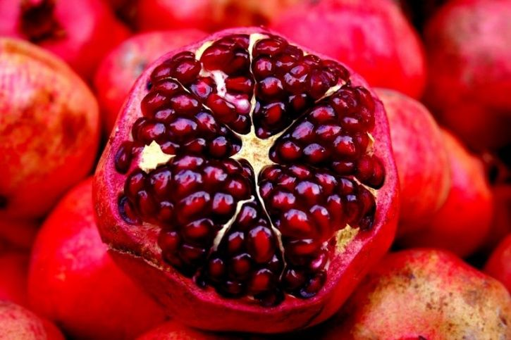 Pomegranates As their ruby colour might suggest to some they are packed with antioxidants and anti-inflammatory ingredients that can combat conditions like high cholesterol, high blood pressure and heart diseases. Pomegranate juice for instance can help reduce the build-up of fatty deposits in your arteries preventing several related heart conditions.