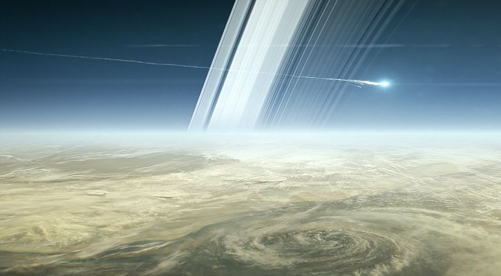 A representational image of Cassini burning up in Saturn