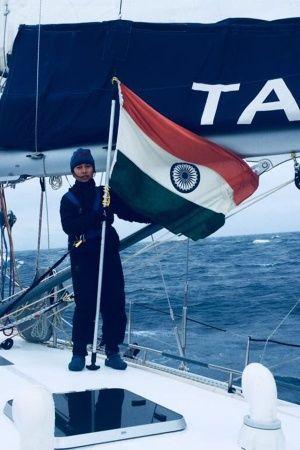 INSV Tarini Crosses Designated Point AllWoman Crew Hoists Tricolour