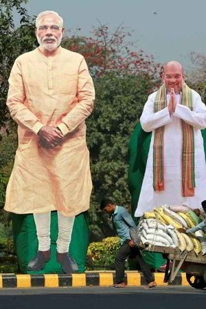 Modi and Shah cutouts as scarecrows