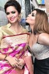 A picture of Arshi Khan and Rakhi Sawant