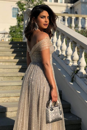 A photo of Priyanka Chopra attending the royal wedding reception of Prince Harry and Meghan Markle