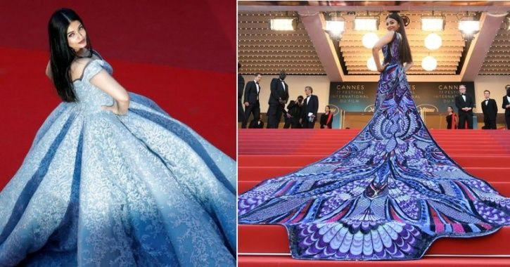 A picture of Aishwarya Rai Bachchan from Cannes Film Festival 2017 and 2018,
