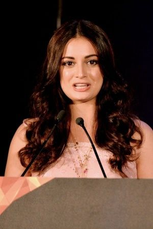 A picture of Dia Mirza rooting for beat the plastic campaign