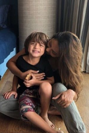A picture of Gauri Khan with son AbRam
