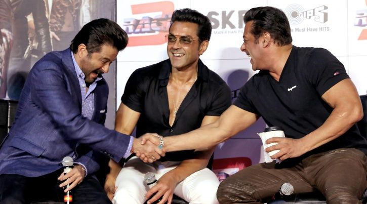 A picture of Salman Khan, Bobby Deol and Anil Kapoor from the Race 3 trailer launch event.