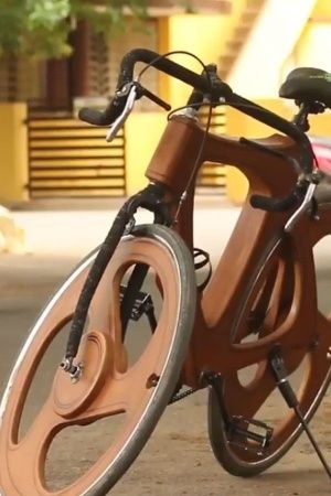 P K Murugesan Wooden Bicycle