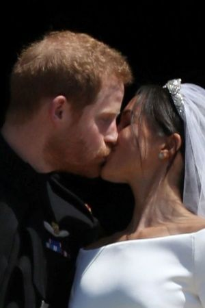 Prince Harry and Meghan Markles first kiss post wedding