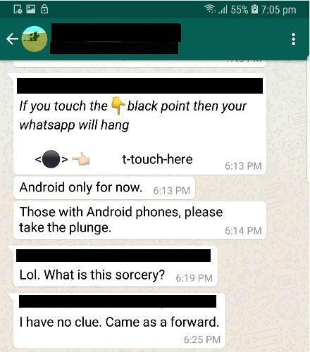 Whatsapp hangs black dot