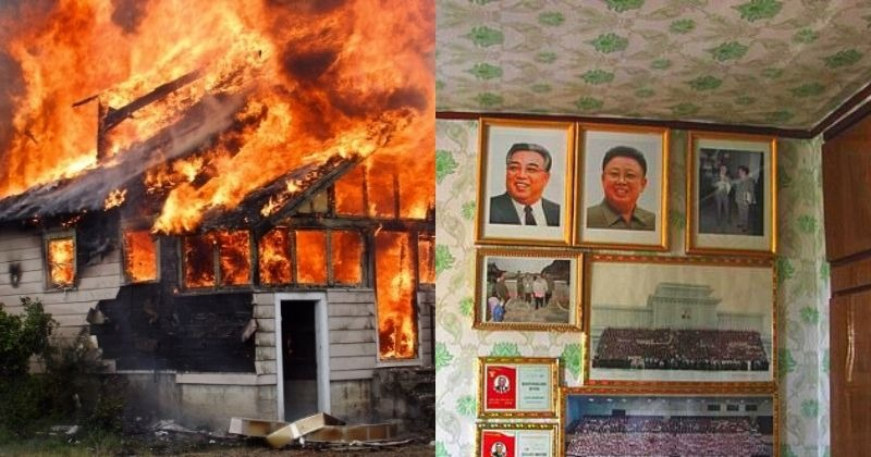 Image result for images of Mother faces prison for saving her children from a house fire instead of portrait of North Korea's leaders