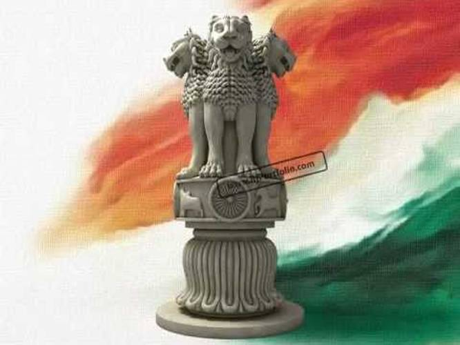 The Lion Capital Of Asoka Indian National Emblem In 3d