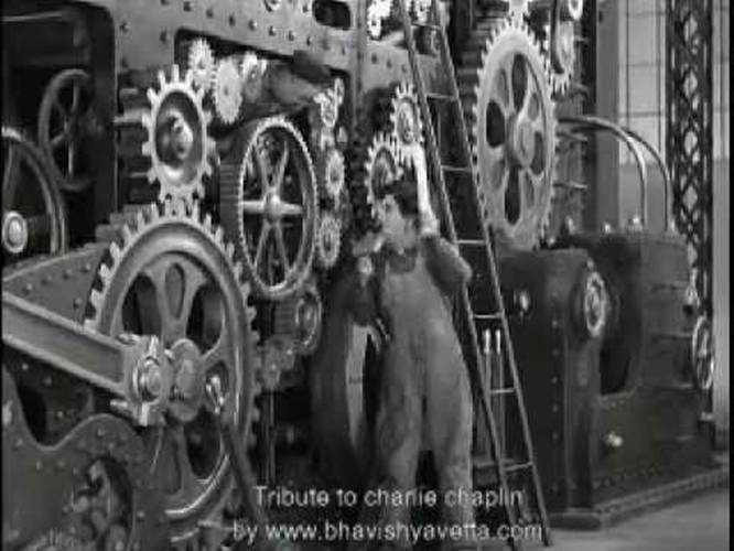 charlie chaplin modern times industrial revolution Modern times synopsis charlie is a factory worker in this hectic age - a minor cog in the grinding wheels of industry his job -mechanically tightening bolts on a moving belt.