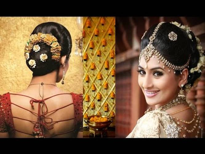 South Indian Bridal Makeup And Hairstyle Tutorial Simple Bridal Bun