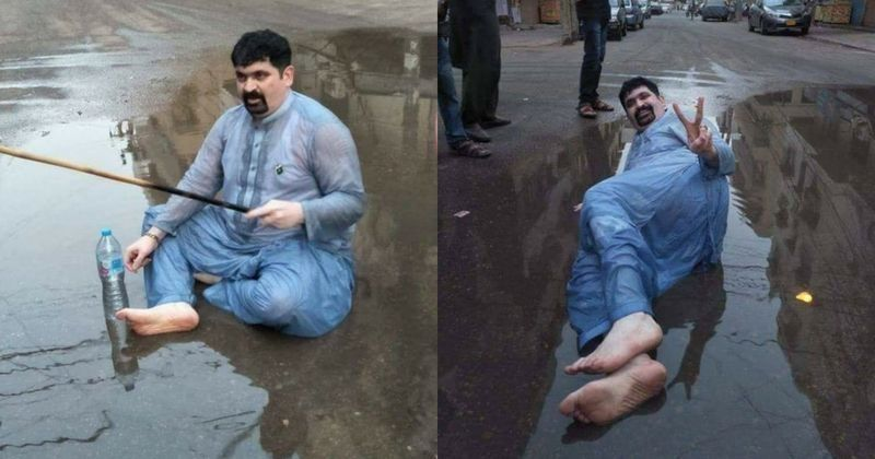 Image result for pakistani-politician-lies-down-in-sewer-water