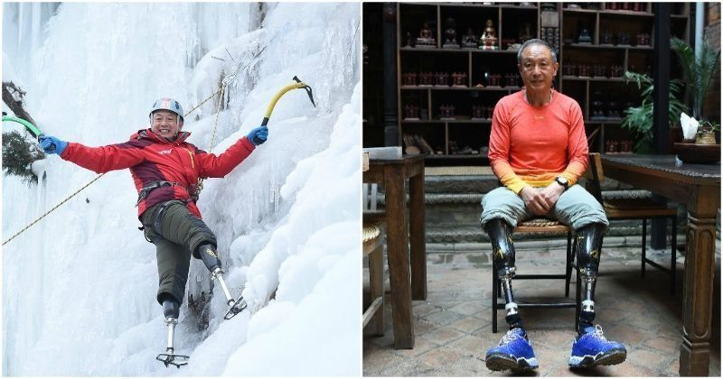A Lesson In Never Giving Up - 69-Year-Old Chinese Climber With No Legs Scales Mt Everest