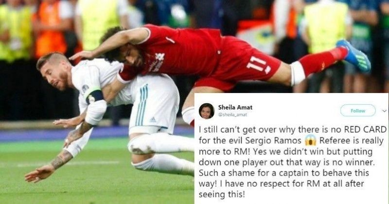 Sergio Ramos In Public Enemy No. 1 After Bringing Down Mohamed Salah In Champions League Final ...
