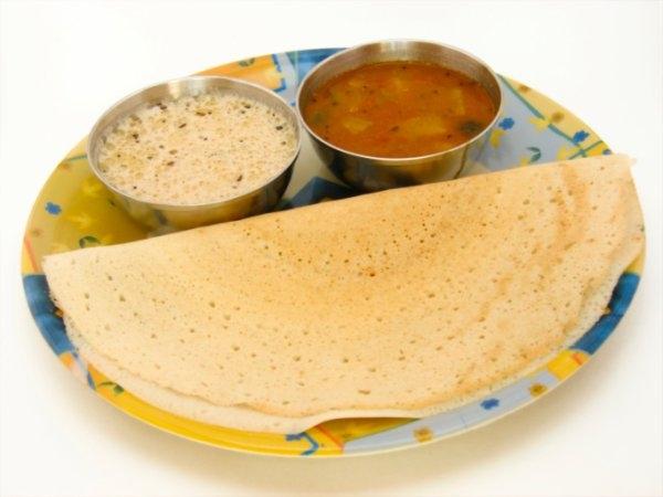 Rava dosas and sambhar