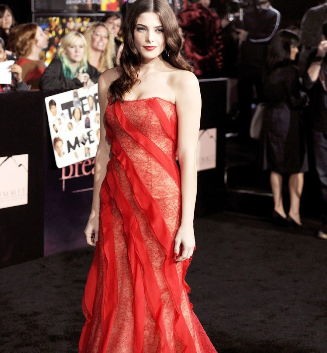 """Cast member Ashley Greene poses at the premiere of """"The Twilight Saga: Breaking Dawn - Part 1"""" at Nokia Theatre in Los Angeles"""