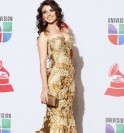 Brazilian singer Paula Fernandes poses backstage at the 12th annual Latin Grammy Awards in Las Vegas