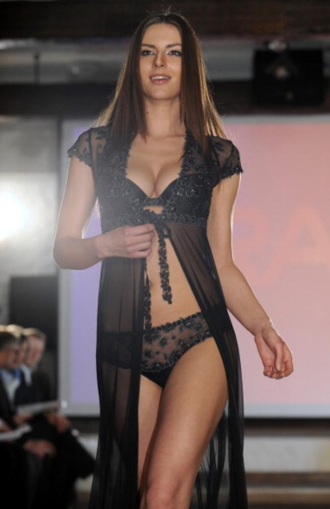A model displays creation by Belarusian