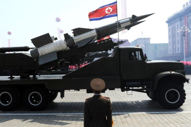 A missile is displayed during a military
