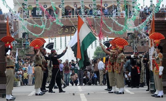 Image result for wagah border independence day