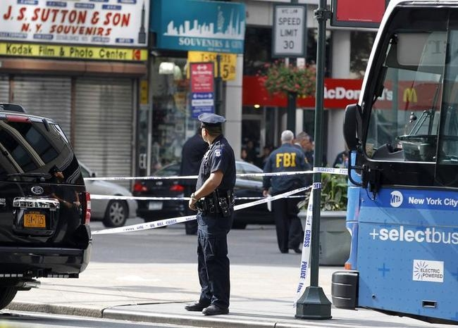 New York City Police and FBI at scene of a shooting near the Empire State Building in New York