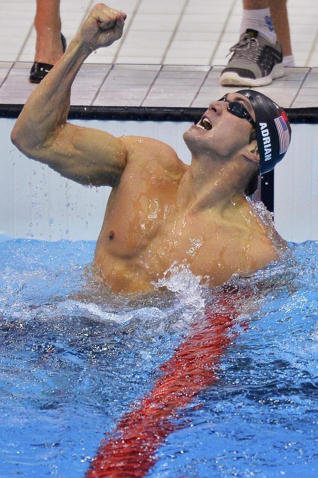 Nathan Adrian of the U.S. celebrates winning the men