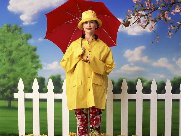 Umbrellas and raincoats: