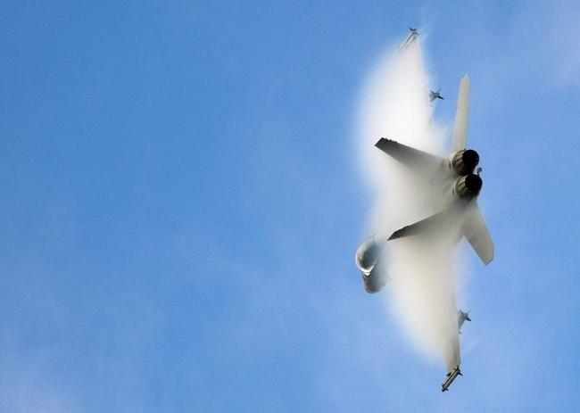 An F-18 multi role fighter jet