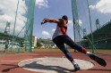Discus thrower Parejo throws during a practice session in Caracas