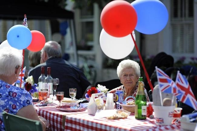 People attend a street party
