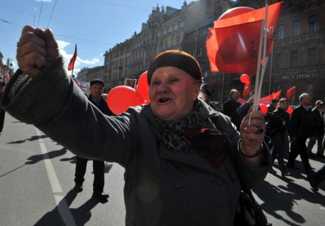 A Russian communist party supporter shouts during the May Labour Day rally