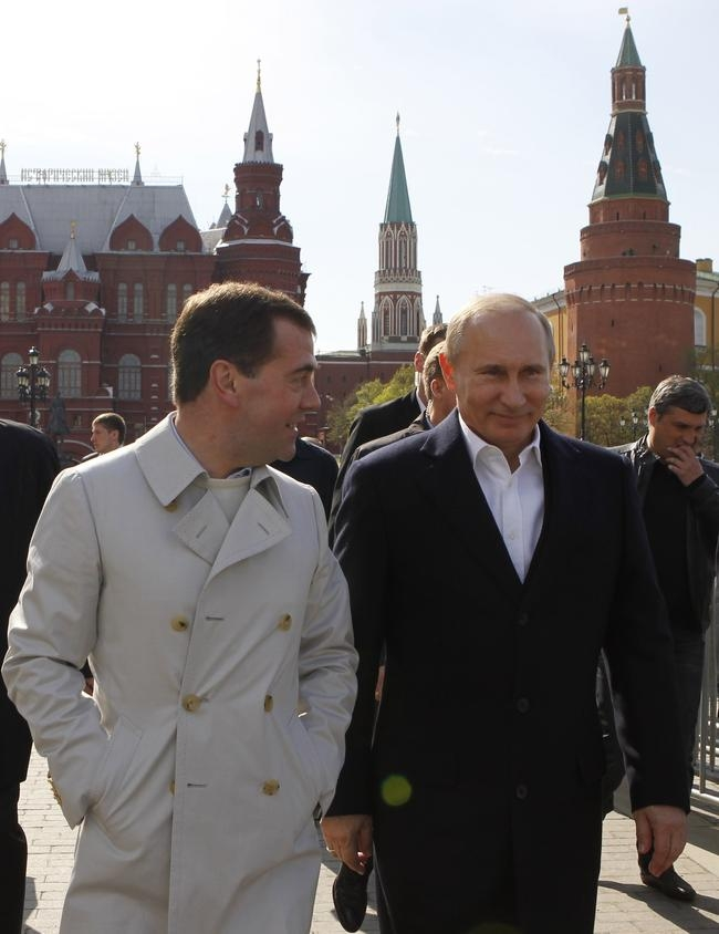 Russian President Dmitry Medvedev (L) and the president-elect and Prime Minister Vladimir Putin (R)