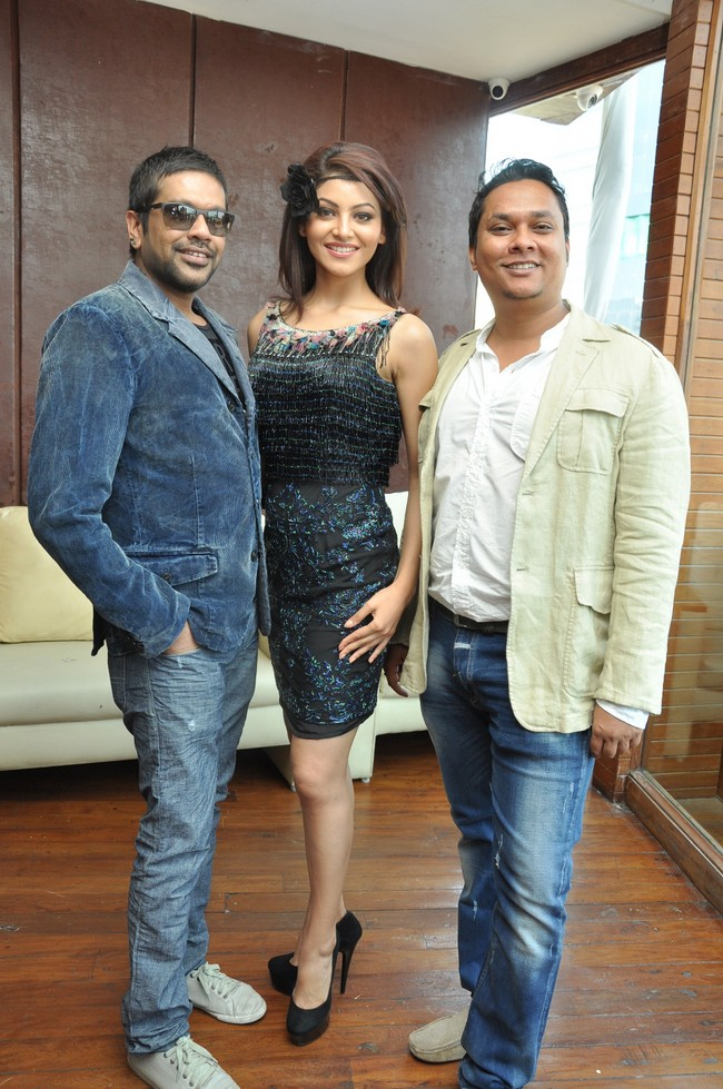 Rocky S with model & Pallav Ojha, Director IRFW