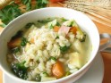 Vegetable and chicken stew with polenta